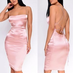 Dresses & Skirts - Sexy Pretty Pink Open Back Strap Silk Satin Dress